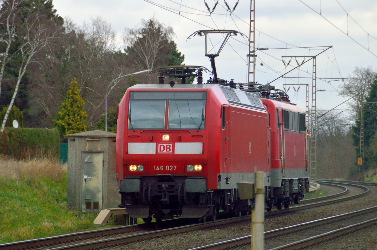 Friday 21.st of february 2014 near Wickrath two german locomotives one a class 146 027 and in it's back an class 111 014-7 on there way westward to Aachen.