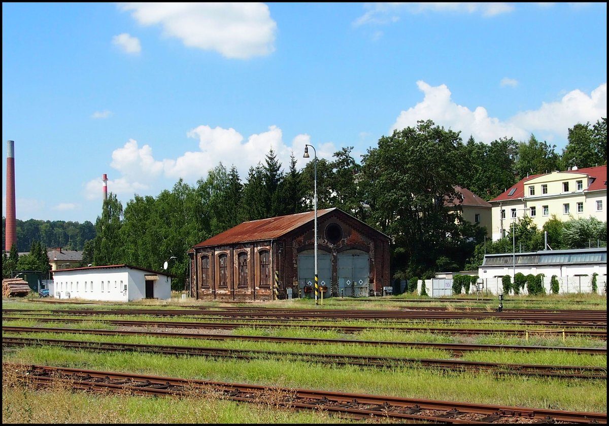 Historic locomotive depot in railway station Náchod on 1.8.2018.