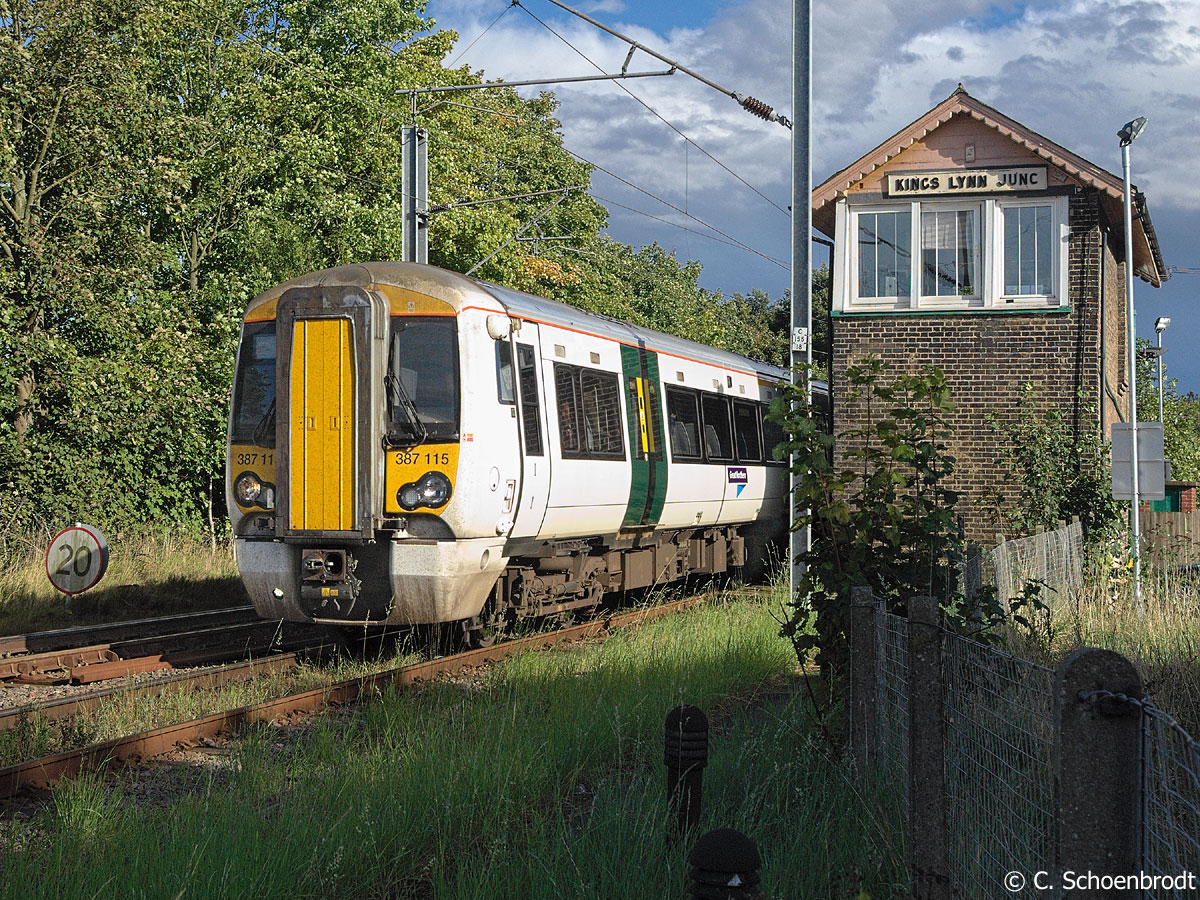 King's Lynn, Great Northern EMU No. 387 115, with the 14,44 train from King's Cross, at Tennyson Road crossing, Kings Lynn Junction Signalbox.
