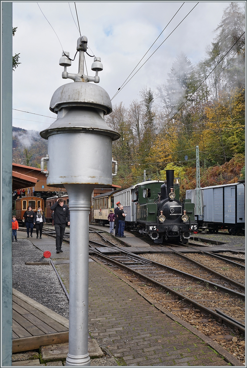 LA DER 2020 by the Blonay-Chamby: The ex LEB G 3/3 N° 5 now by the Blonay-Chamby Railway in the museums Station Chaulin. 
