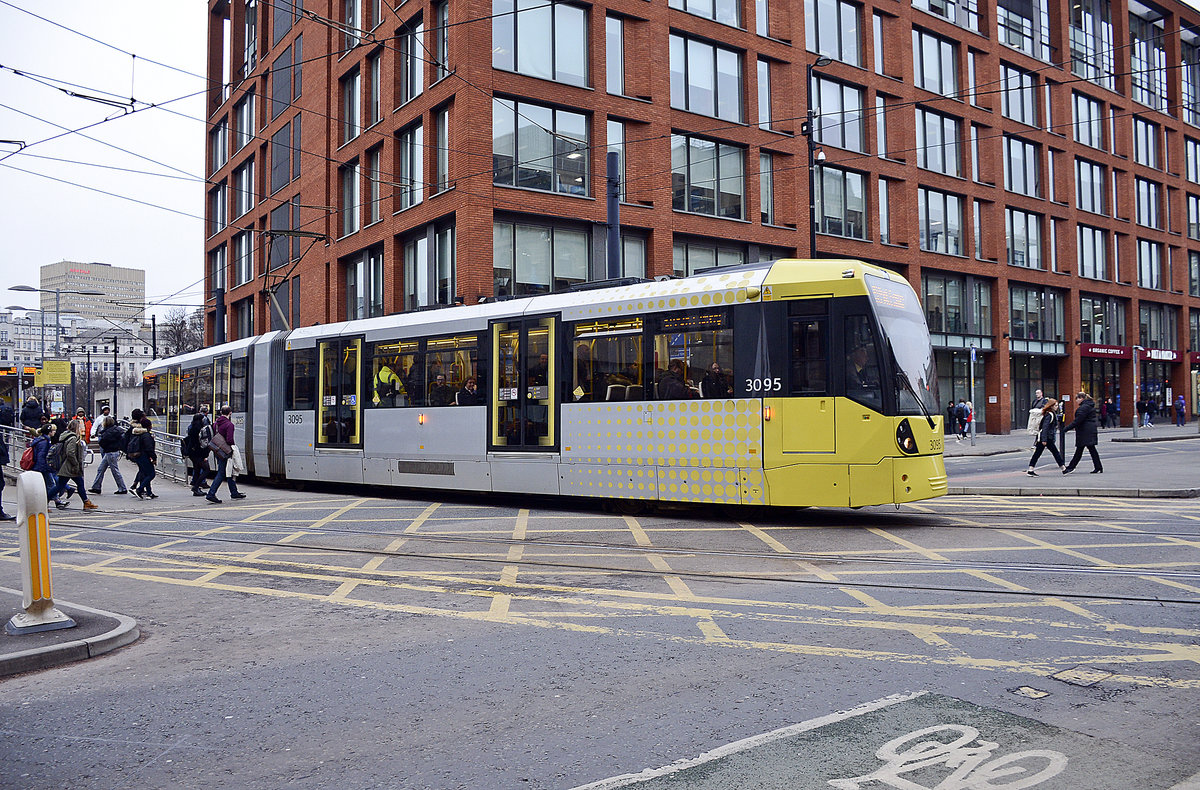 Manchester Metro Link Tram 3095 (Bombardier M5000) at Eleven Portland Street in the city centre of Manchester: March 11, 2018.