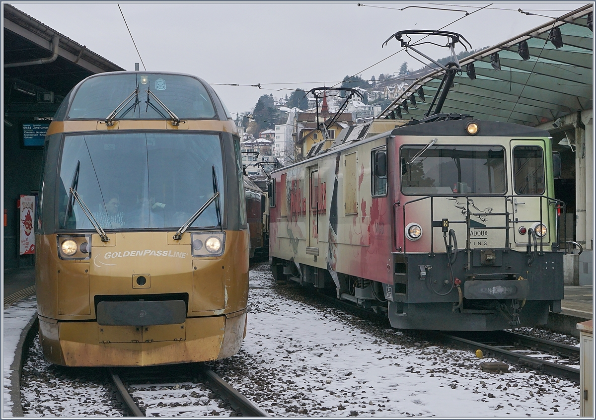 MOB Panoramic Express and GDe 4/4 6006 in Montreux.