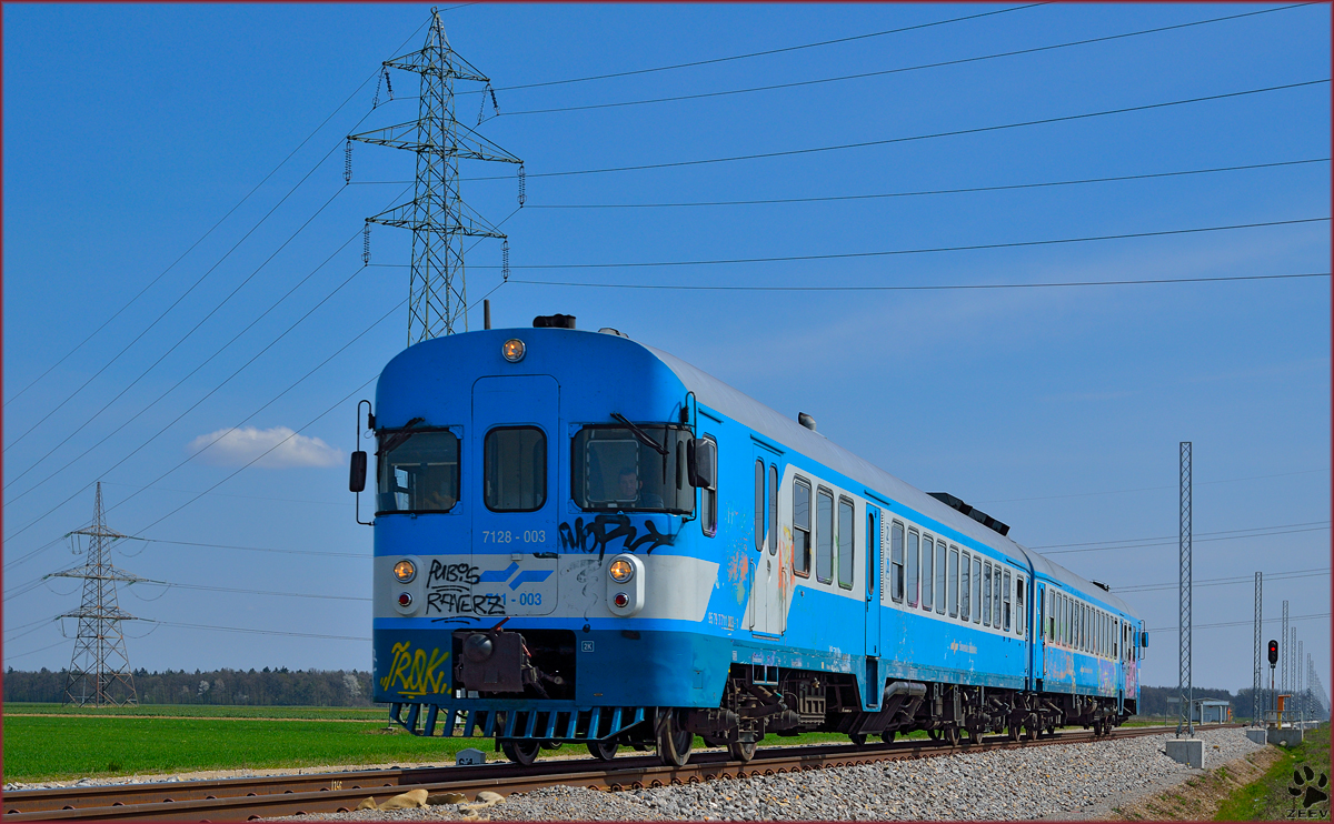 Multiple units 711-003 are running through Cirkovce on the way to Pragersko. /28.3.2014