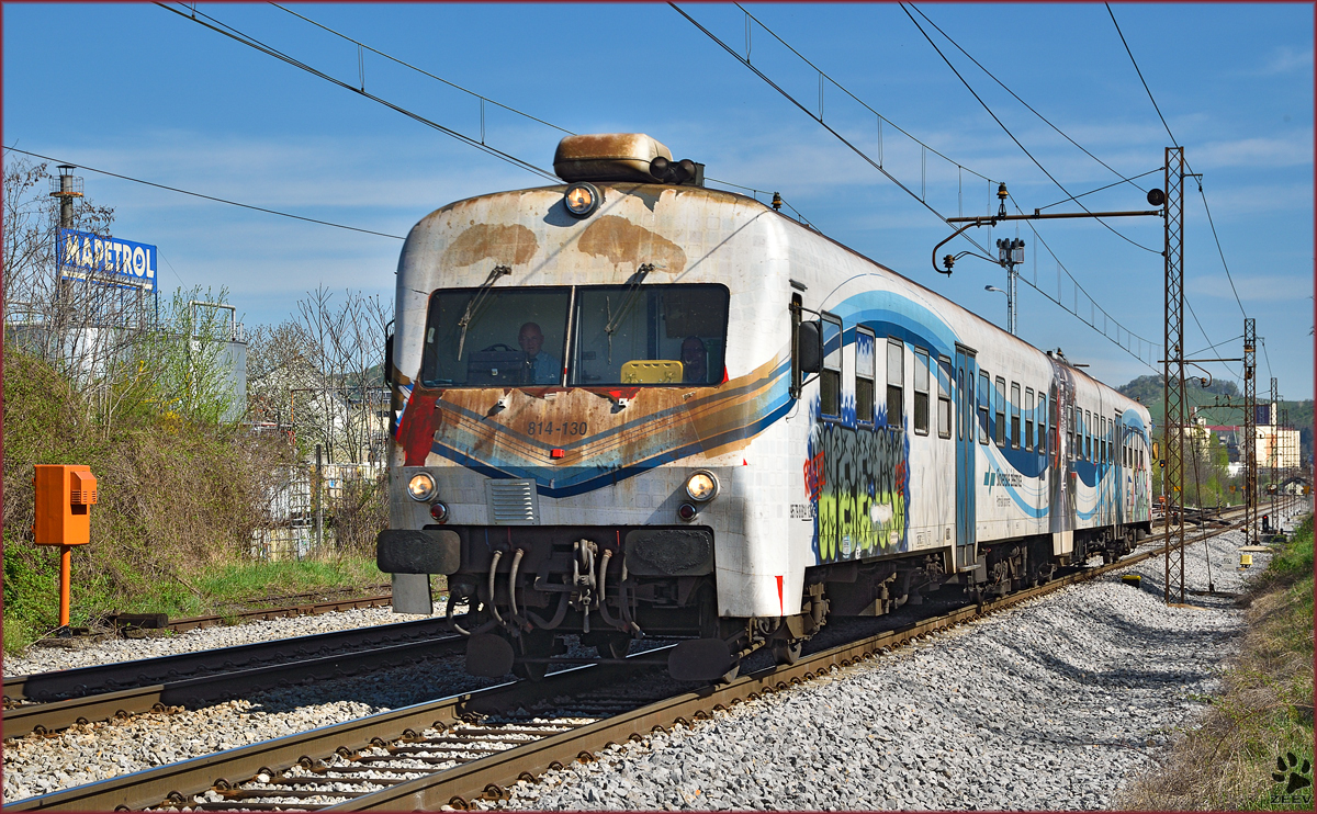Multiple units 814-130 run through Maribor-Tabor on the way to Ormož. /16.4.2015