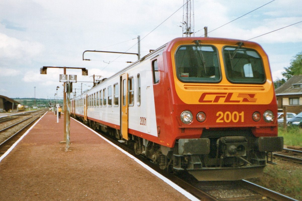 On 24 July 1997 CFL 2001 stands in the Belgian border station of Athus.