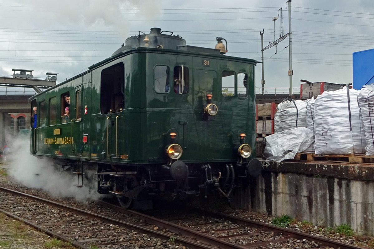 On 25 May 2019, tram loco Uerlikon-Bauma Bahn No.31 stands in the works at Brugg AG during an Open Weekend, organised by Verein Mikado 1244, who have their base at the Brugg works.