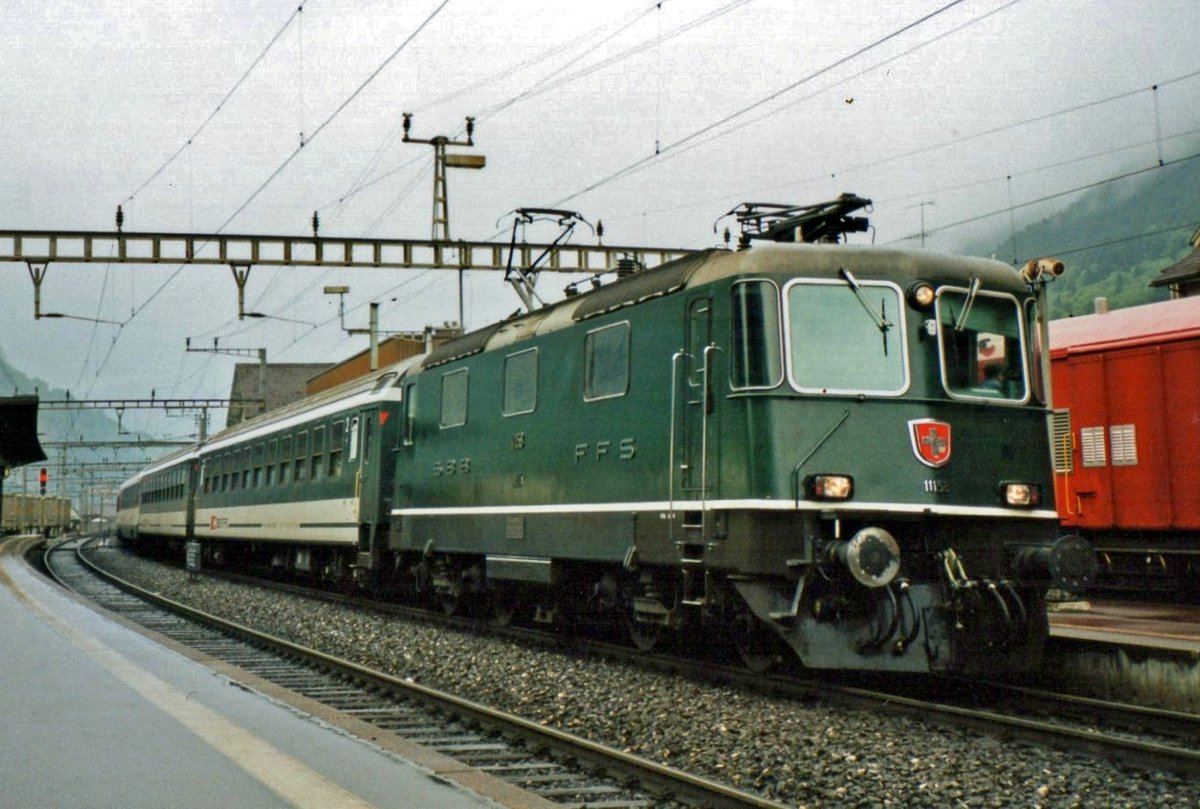 On 26 May 2007 SBB 11158 calls at Erstfeld.