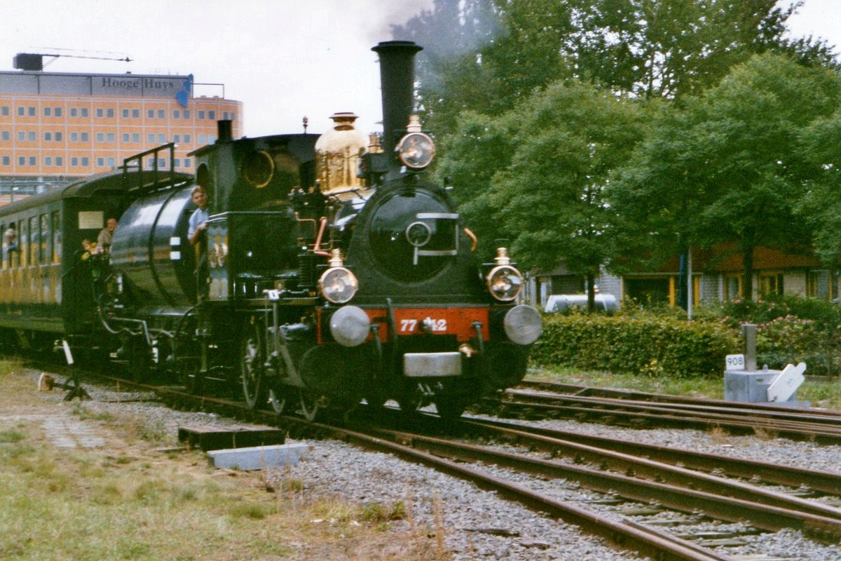On a grey 25 November 1999 SHM 7742 'BELLO' hauls a steam train out of Alkmaar during an exhibition.