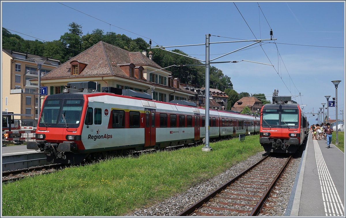 Region Alps local trains on te way to Brig and St Gingolph by his crossing in Bouveret. 