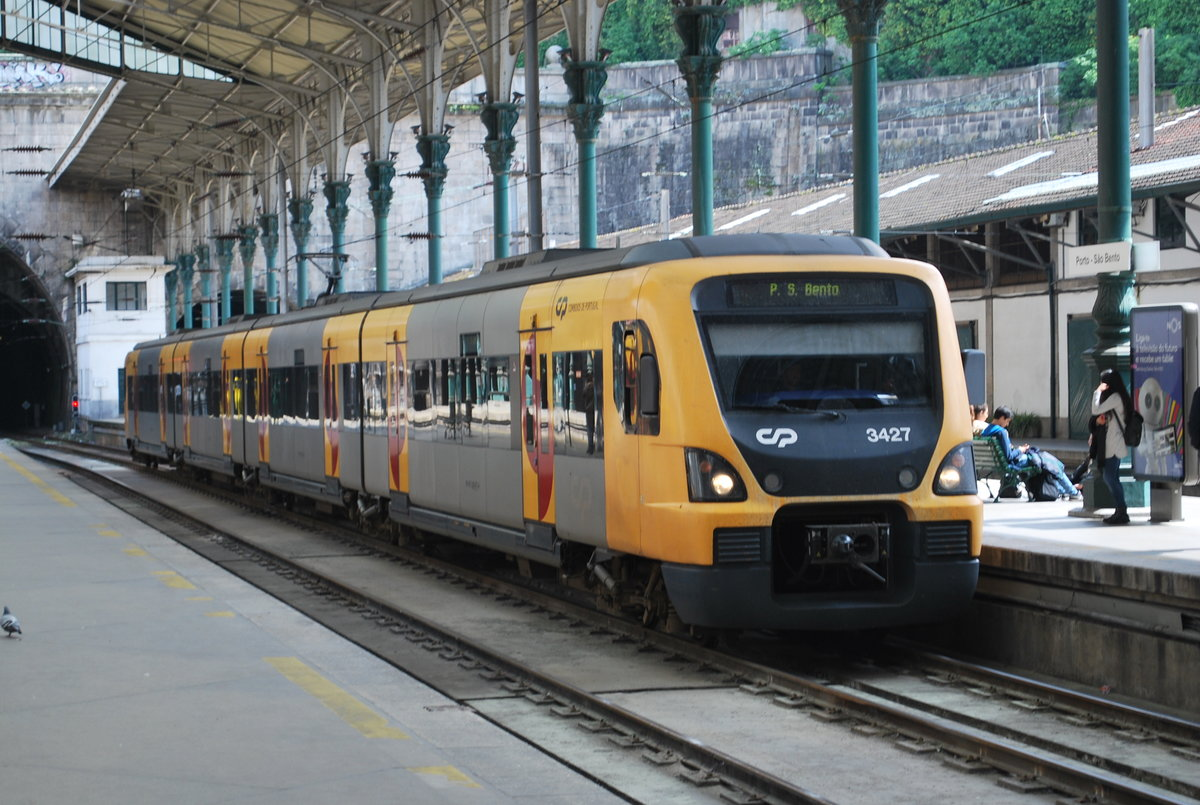 Regional train commuting between Guimares and Porto (here in Porto Sao Bento station, April 2015).