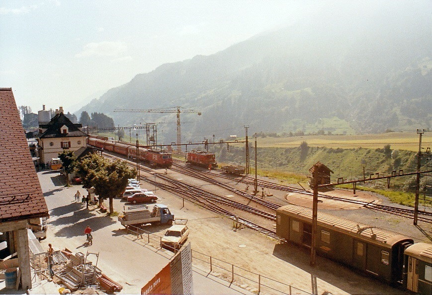 Rhaetian Railway/Furka Oberalp station Disentis in the early morning sun, August 1987 (FO now MGB)