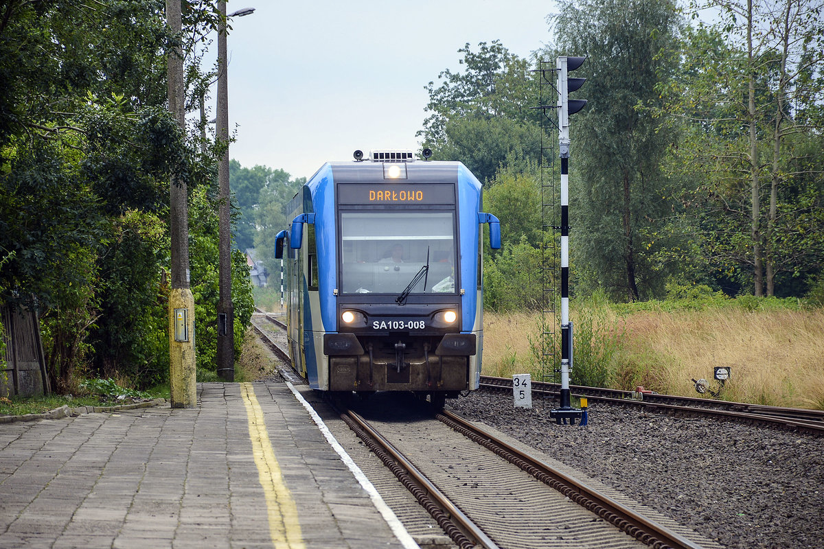 SA 103-008 arriving at the railway station of Darłowo in Poland. August 22 2020.