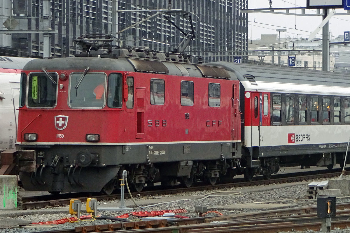 SBB 11159 is stabled at Geneve on New Year's Day 2020.