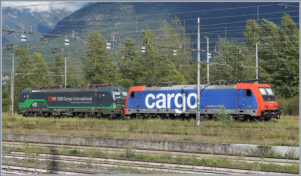 SBB Cargo Re 484 002-1 and 193 257-3 (UIC 91 80 6193257-3 D-ELOC)in Domodossola.