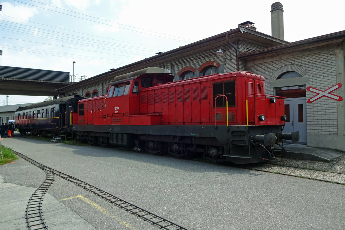 Swiss Diesel 18504 stands at the works in Brugg AG, home to Verein Mikado 1244, and is seen on 25 May 2019.