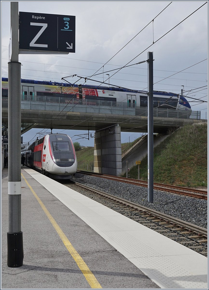 TGV 4419 to Mulhouse and a TER to Belfort in the Meroux -Belfort-Montbeliard TGV Station.
