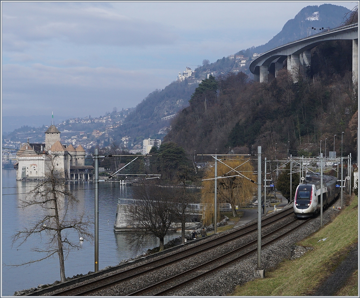 TGV Lyria from Paris to Brig by the Castle of Chillon.