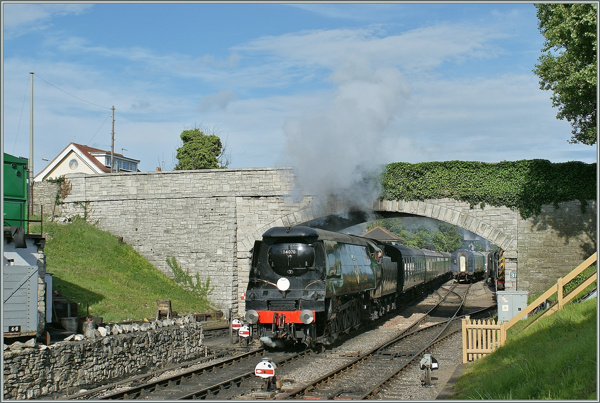 The 34 070 in Swanage (by the Swanage Railway).