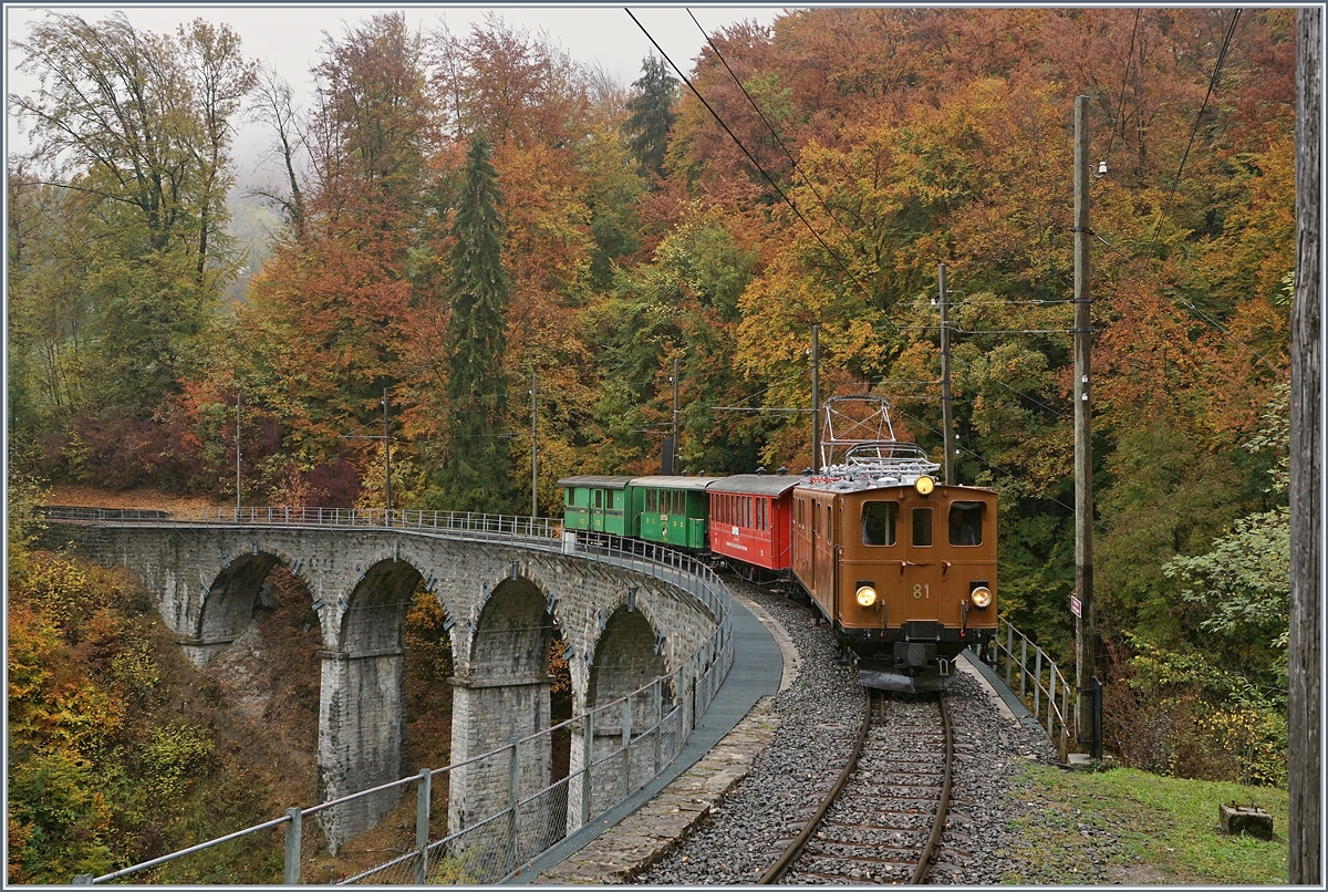 The Bernina Bahn BB Ge 4/4 81 with a Blonay-Chamby Service on the way to Chaulin by the Baie de Clarens Viadukt-