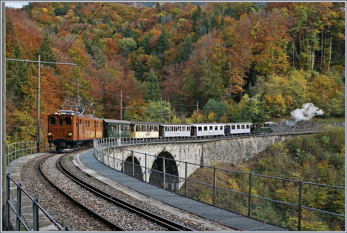 The Bernina Bahn Ge 4/4 81 by the Blonay Chamby Railway on the way to Blonay by Vers chez Robert.