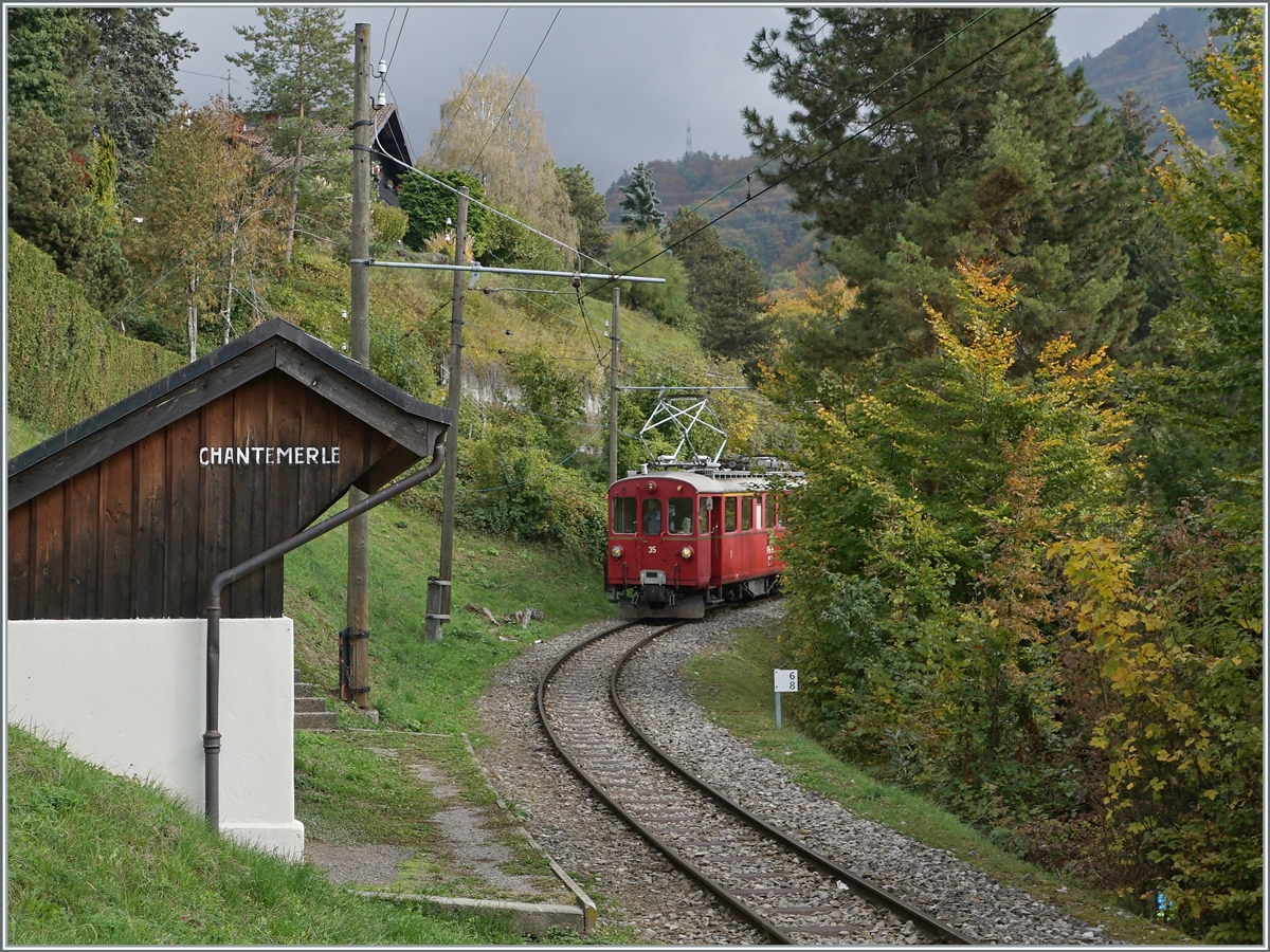 The Blonay Chamby ABe 4/4 I 35 by the Chantemerle Station. 