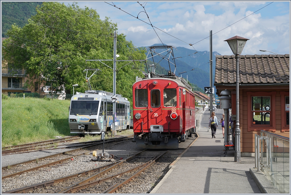 The Blonay Chamby Bernina Bahn ABe 4/4 35 and the CEV Beh 2/4 72 in Blonay.