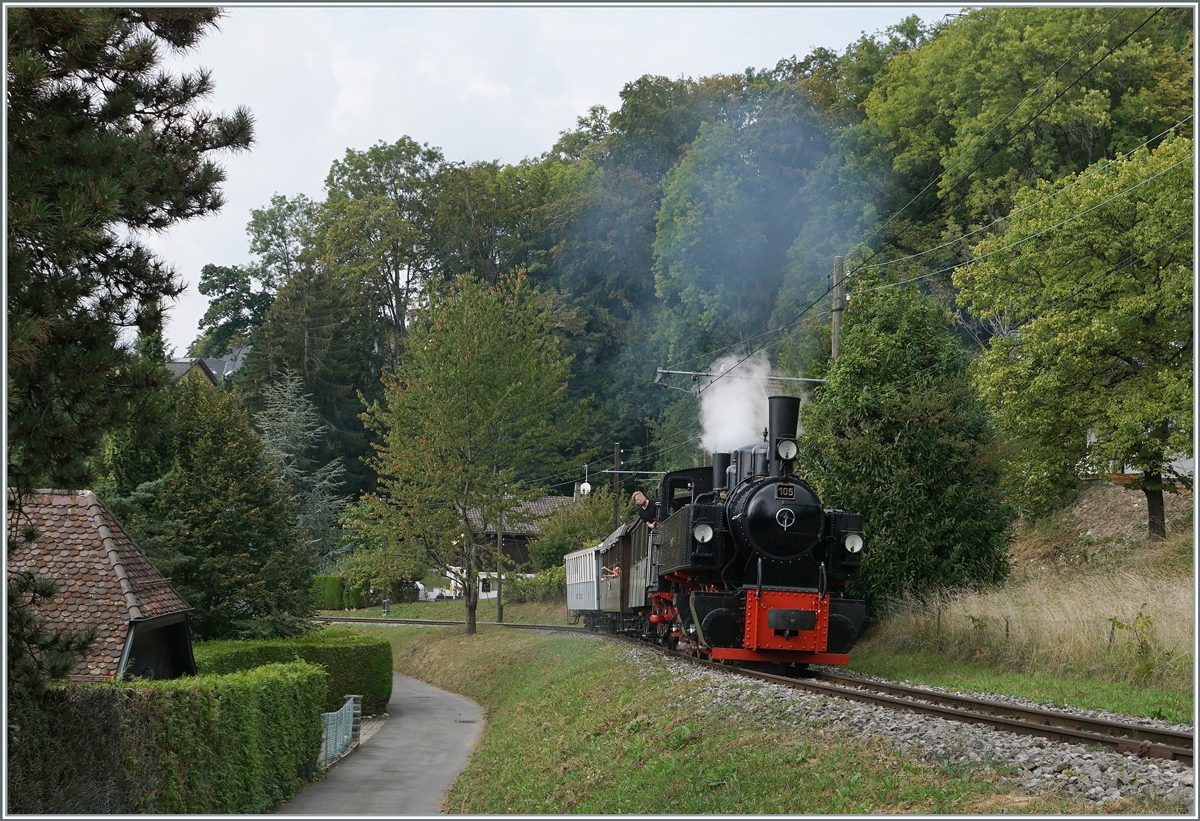The Blonay-Chamby G 2x 2/2 105 on the way to Chaulin by Blonay. 