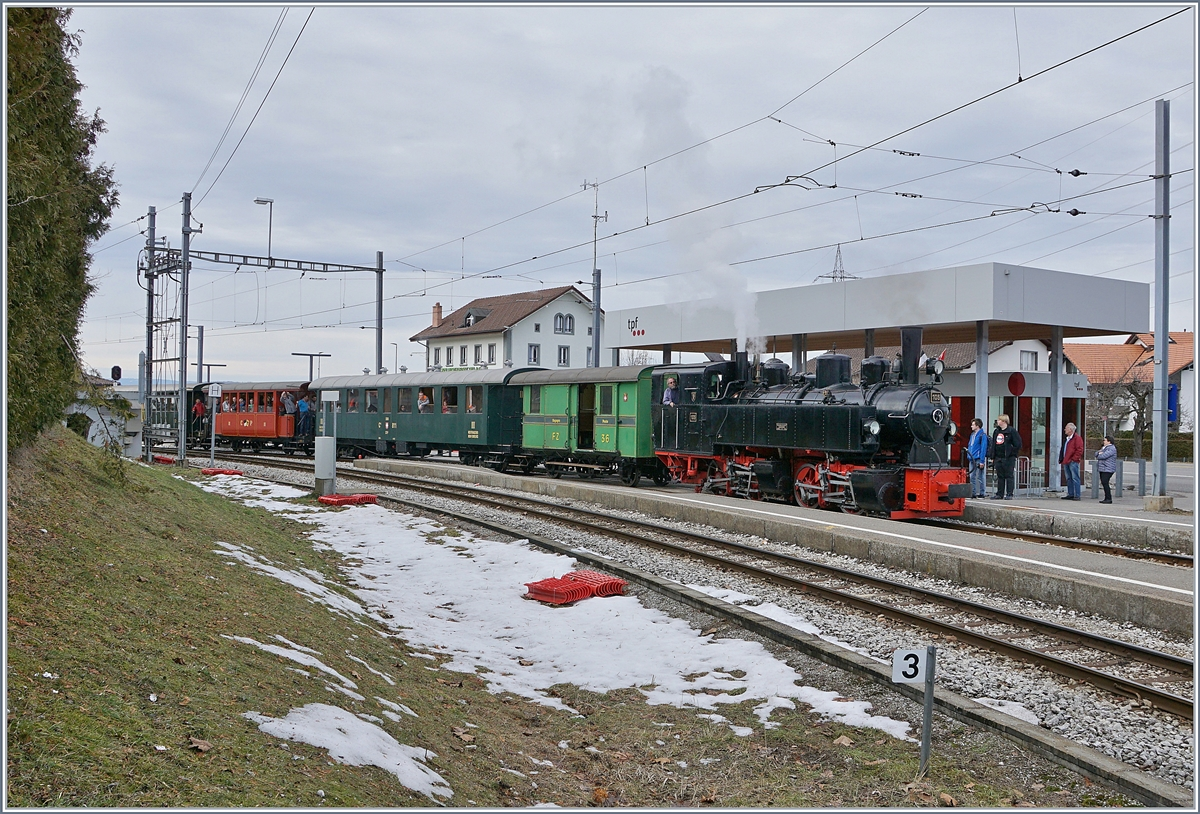 The Blonay Chamby G 2x 2/2 105 in Bossonnens on the way to Chatel St-Denis.