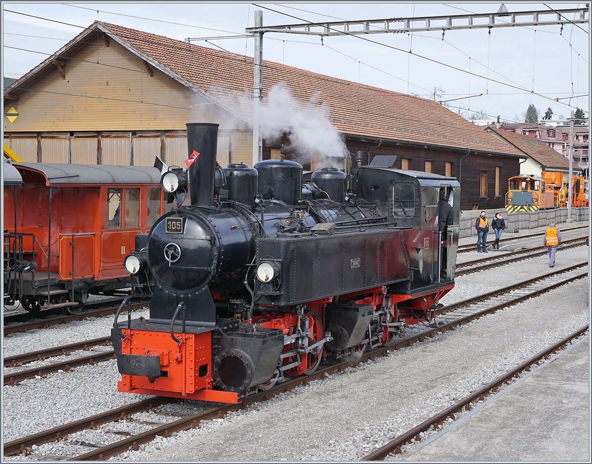 The Blonay Chamby G 2x 2/2 105 in to Chatel St-Denis.