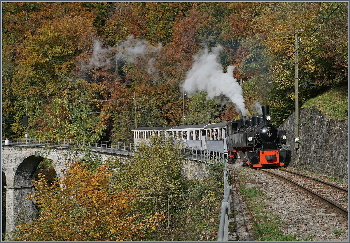 The Blonay Chamby G 2x 2/2 105 on the way to Chaulin by  Vers chez Robert  .