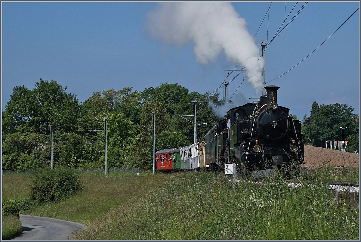 The Blonay Chamby Mega Steam Festial 2018: The Blonay-Chamby BFD HG 3/4 N° 3 an FO HG 3/4 N° 4 by Château d'Hauteville.