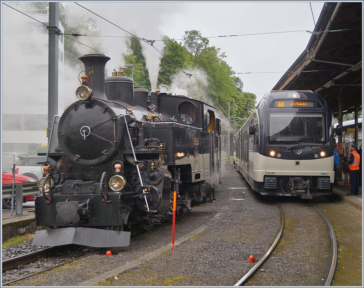 The Blonay Chamby Mega Steam Festival 2018: The BFD HG 3/4 N° 3 in Vevey.
