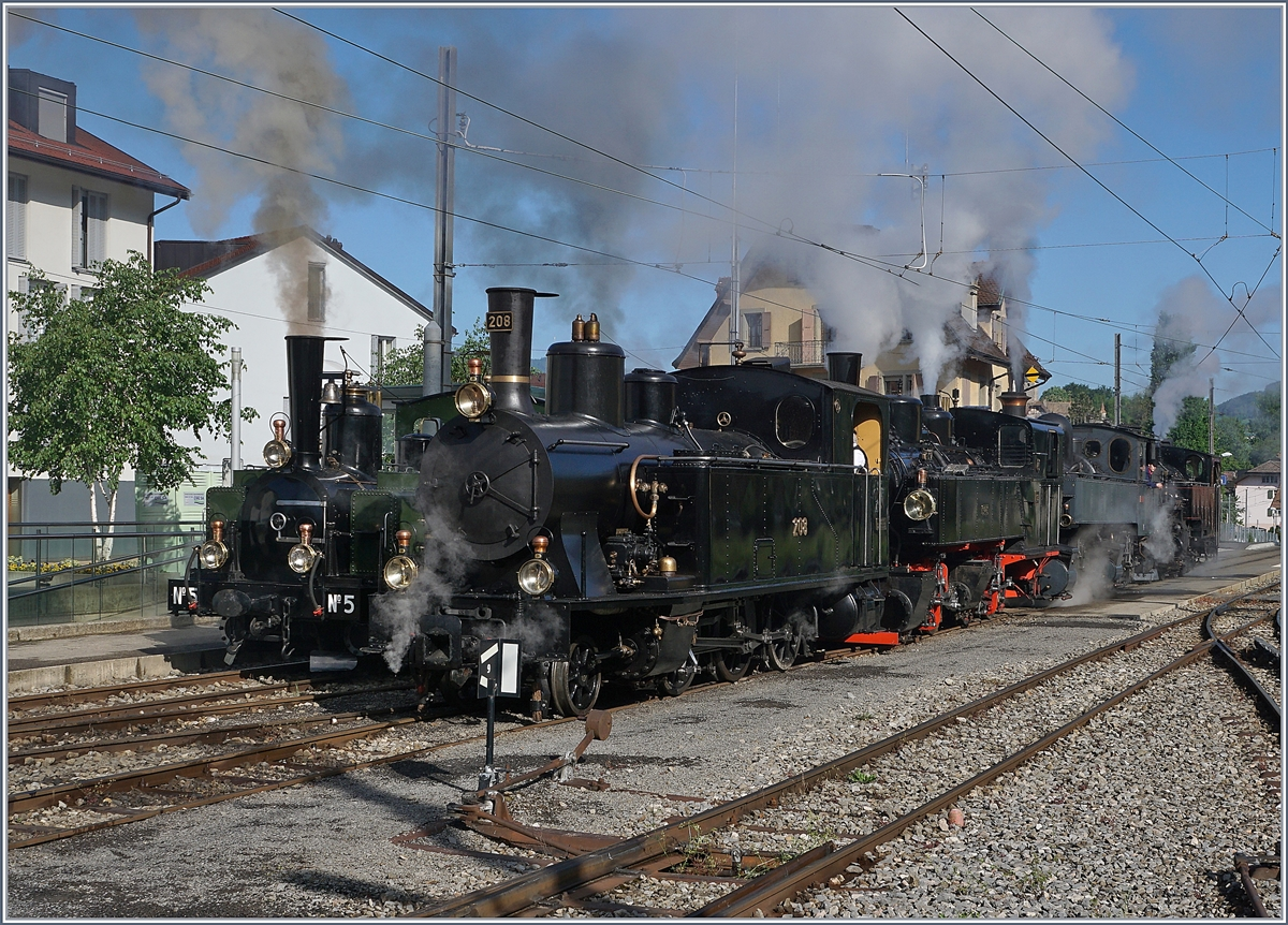 The Blonay Chamby Mega Steam Festival 2018: The LEB G 3/3 N° 5 (1890), the SBB G 3/4 208 (1913), the SEG G 2x2/2 N° 105 (1918) the CP E 164 (1905) and the G 3/3 N° 6 1901) in Blonay.