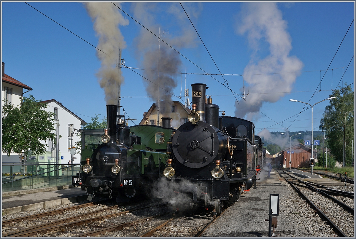 The Blonay Chamby Mega Steam Festival 2018: The LEB G 3/3 N° 5 (1890) and the SBB G 3/4 208 (1913) in Blonay.
