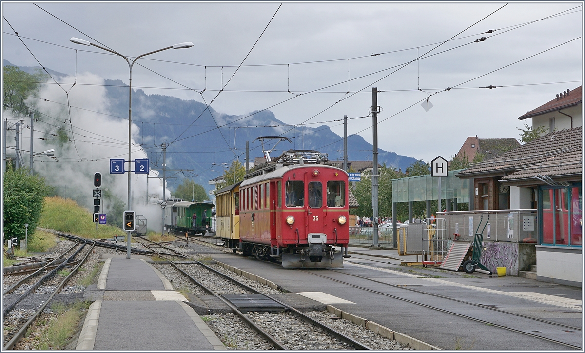 The Blonay -Chamby Riviera Belle Epoque from Chaulin to Vevey by his stop in Blonay.