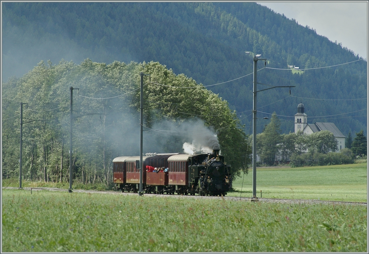 The Bloonay Chamby HG 3/4 N° 3 by Oberwald (100 years Brig - Gletsch).