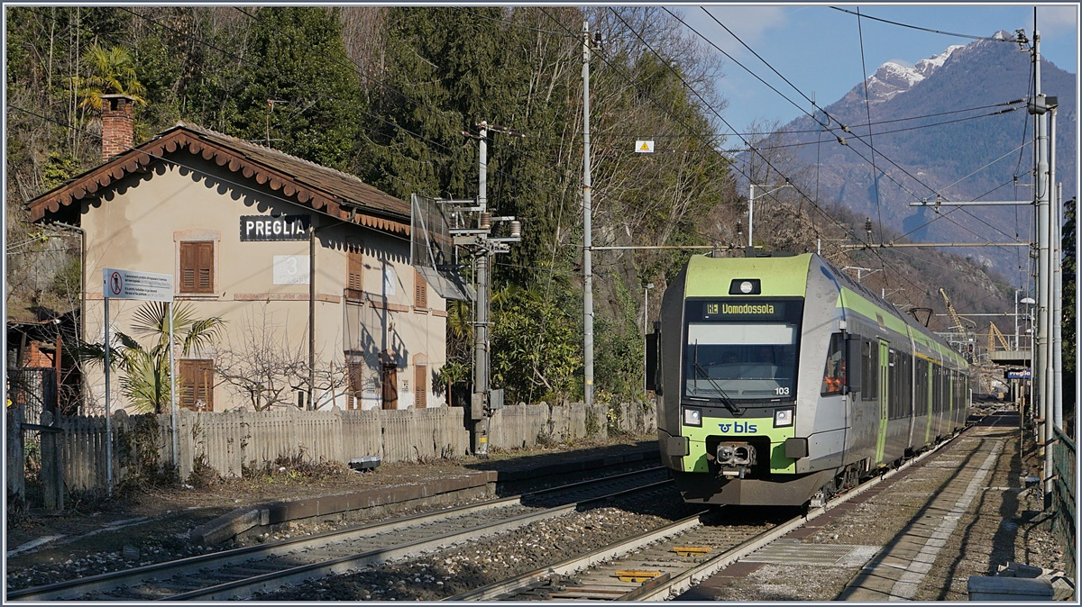 The BLS RABe 535 103 Lötschberger on the way to Domodossola in Preglia. 07.01.2017