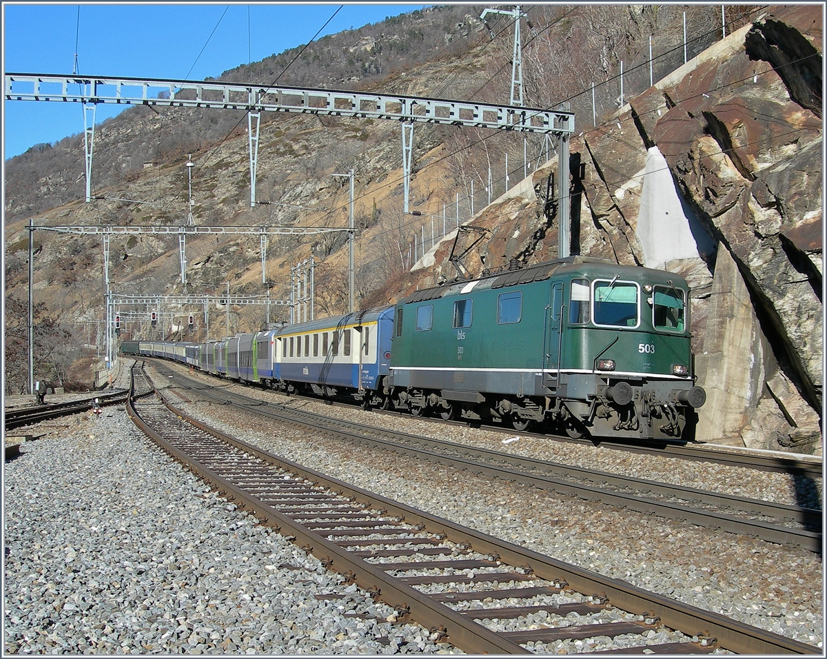 The BLS RE 4/4 503 with a RE to Brig in Lalden.