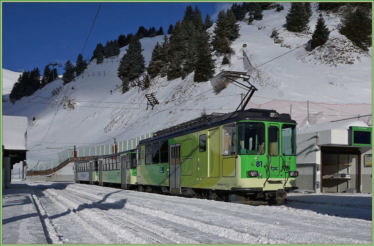 The BVB BDeh 4/4 81 on the Col-de-Bretaye Station.
