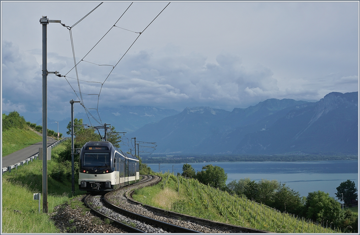 The CEV MVR ABeh 2/6 7504  VEVEY  on the way to Montreux by Planchamp. 