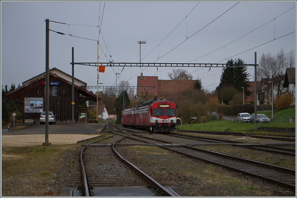 The CJ Bonfol Station with a local train to Porrentruy. 