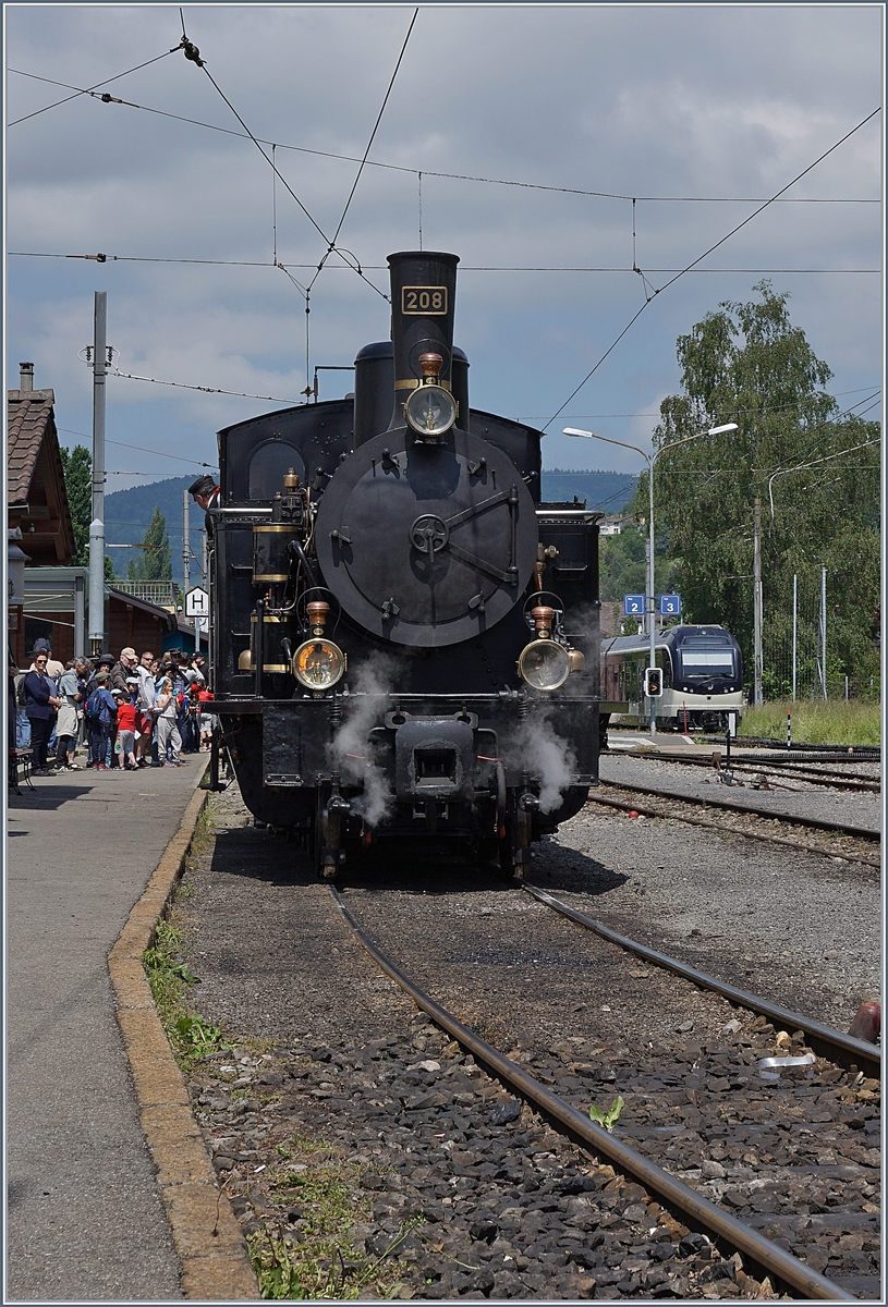The Dampfbahn Ballenberg SBB G 3/4 208 by the Blonay-Chamby in Blonay.
