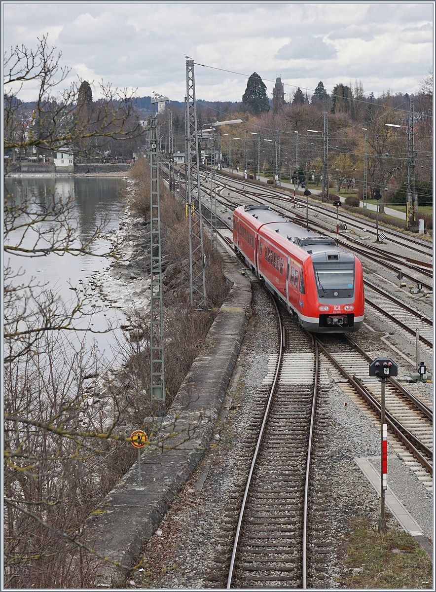 The DB VT 612 004 to Augsburg is leaving Lindau.