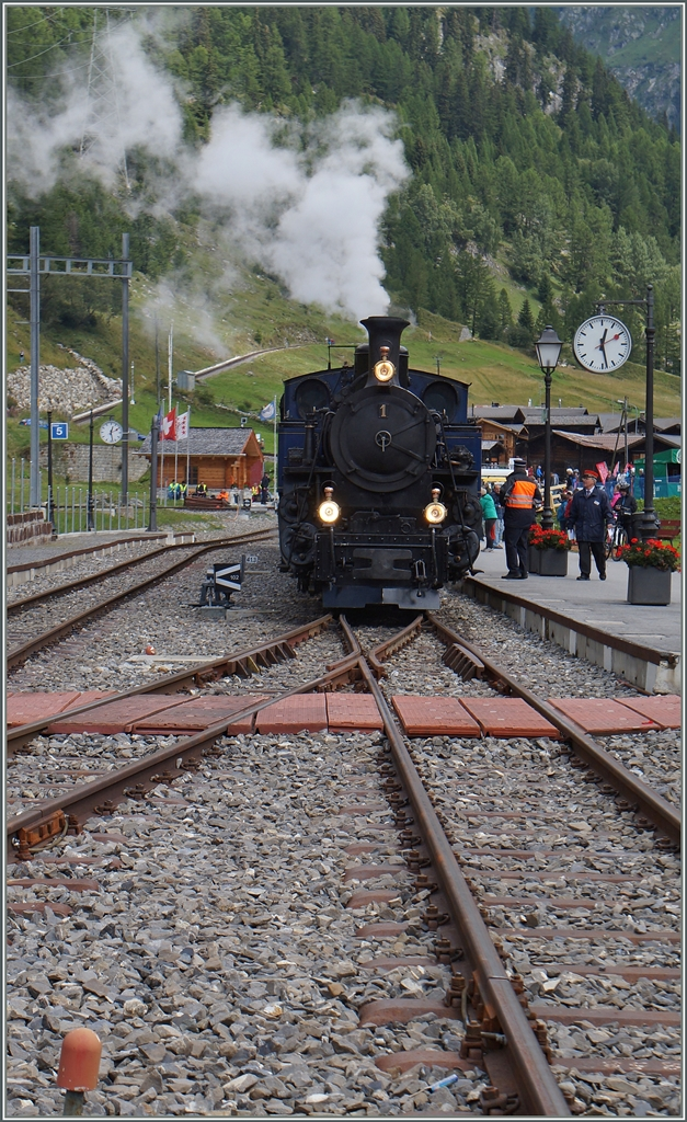 The DFB HG 3/4 N° 1 in Oberwald.
