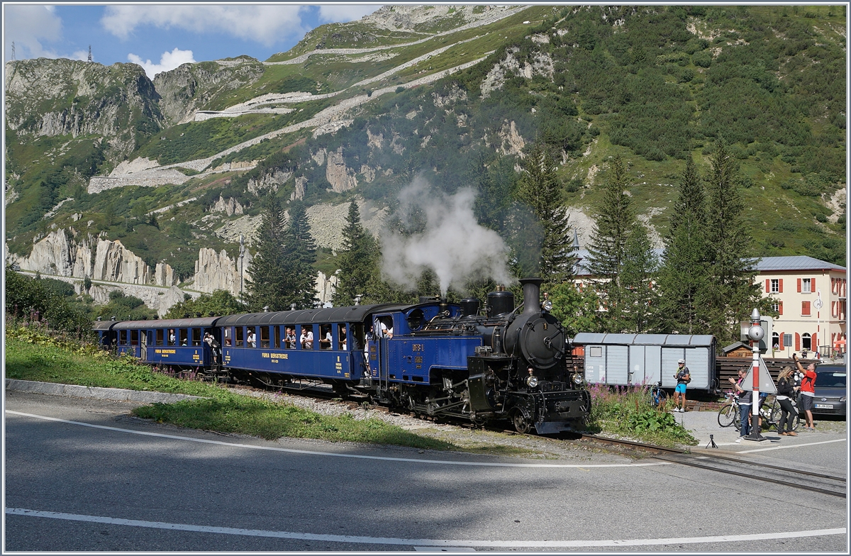 The DFB HG 3/4 N° 1 with the service 134 from Oberwald to Realp in Gletsch. 