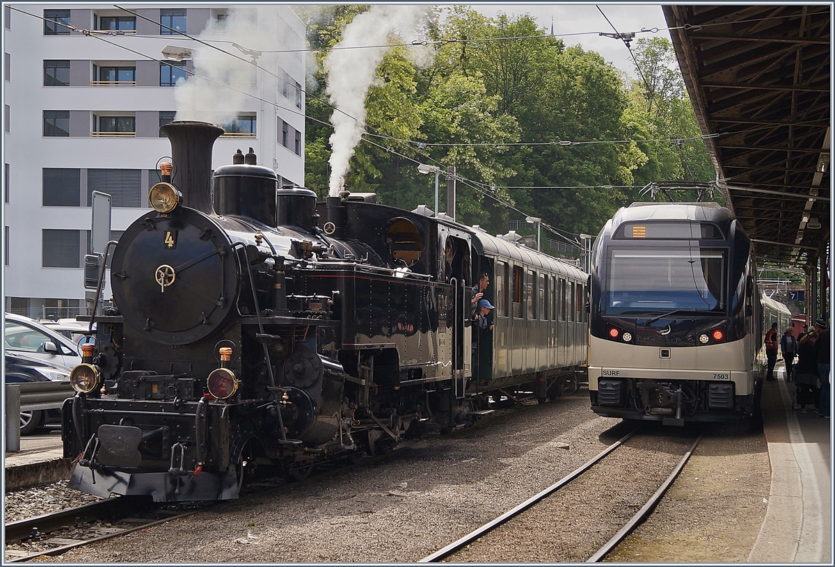 The FO HG 3/4 N° 4 (Dampfbahn Furka Bergstrecke) by the BC and the CEV MVR GTW ABeh 2/6 7503 in Vevey.