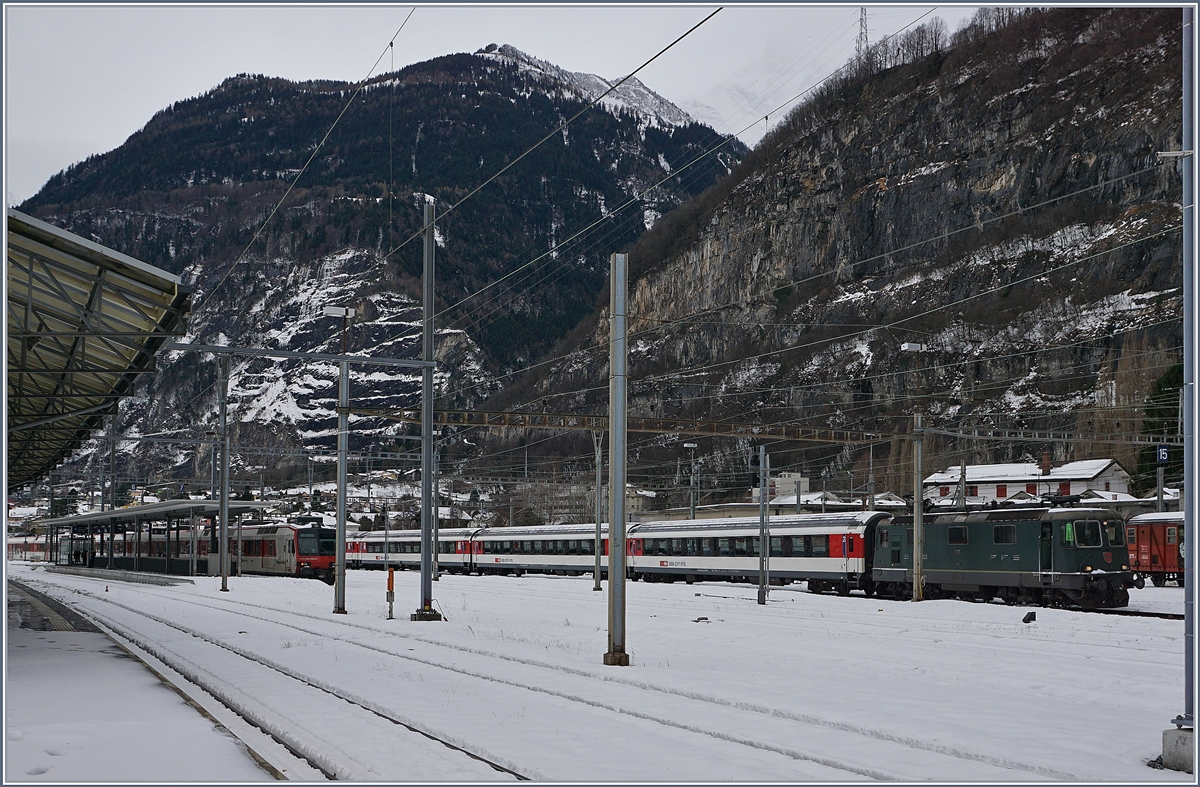 The last green SBB (P) Re 4/4 II 11161 in St Maurice.