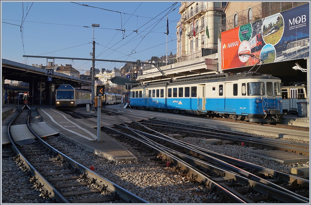 The MOB ABDe 8/8 4004 FRBOURG in Montreux.