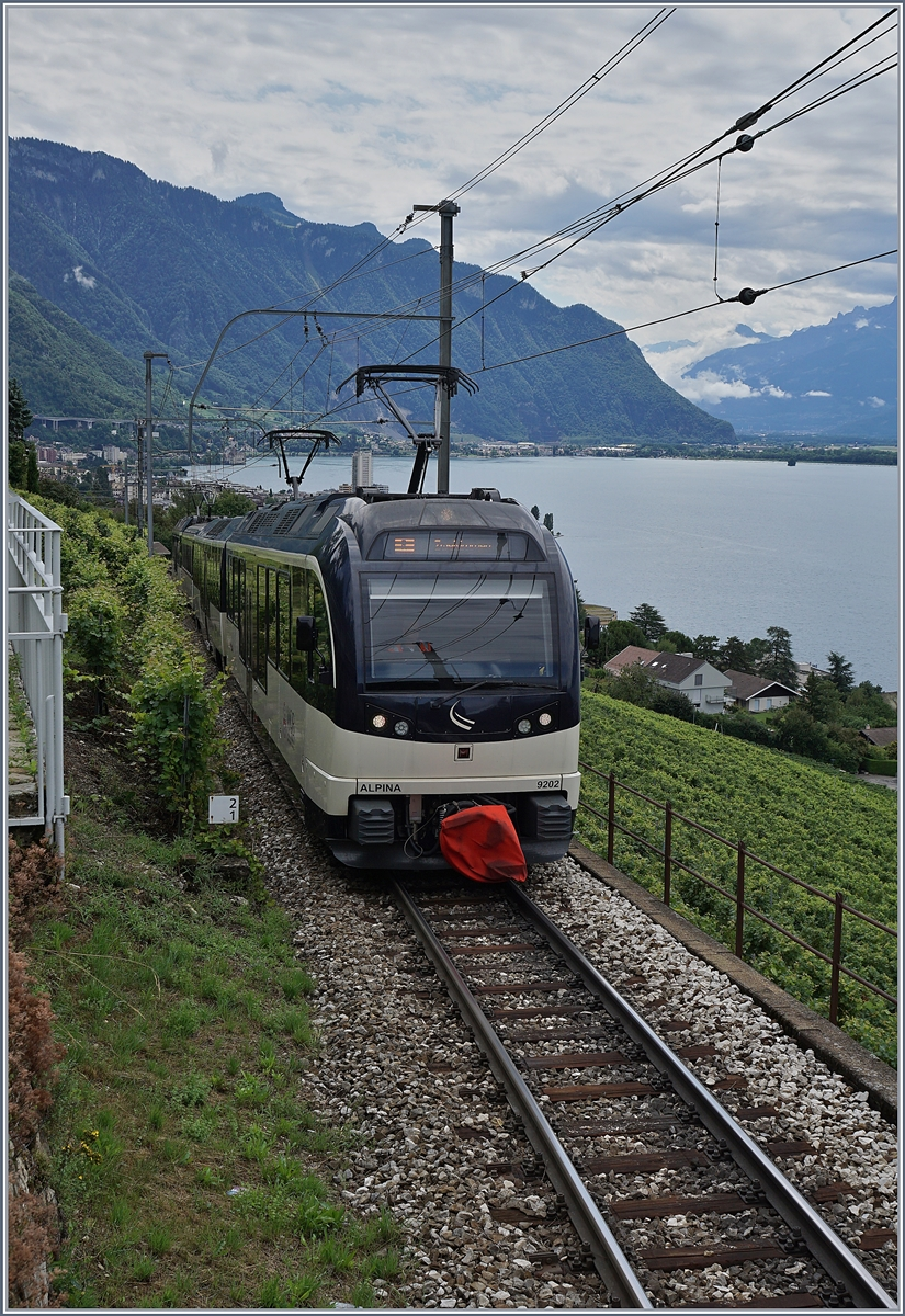 The MOB Alpina 9202 wiht his local Train tou Zweisimmen over Montreux near Châtelard VD.