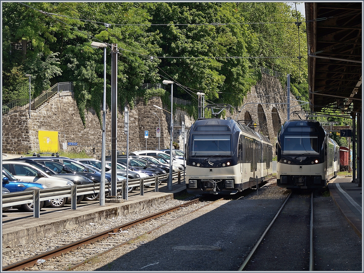 The MOB Alpina Be 4/4 9204, ABe 4/4 9304 and the CEV MVR ABeh 2/6 7506 in Vevey.